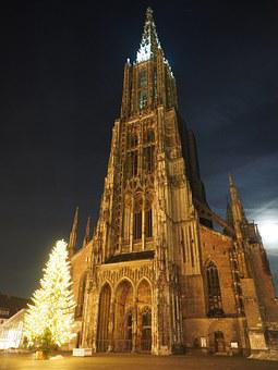 Christmas, Christmas Lights, Münster, Ulm Cathedral
