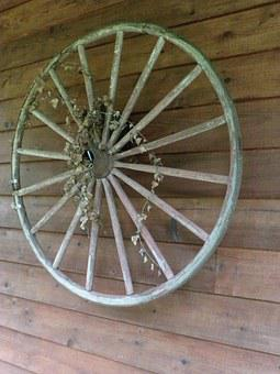 Wooden, Wagon Wheel, Wagon, Wheel, Old, Vintage, Wood