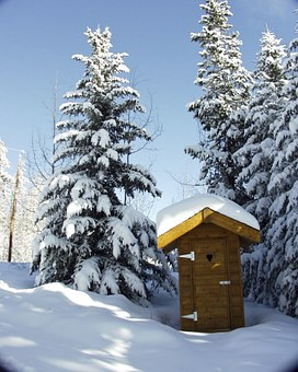 Toilet, Out House, Wooden, Beautiful, Winter, Season