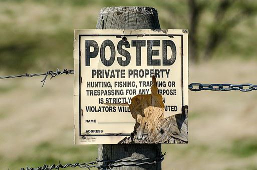 Private Property Sign, Posted, Keep Out, No Hunting