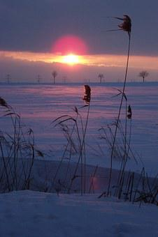 Winter, Snow, Sunset, Abendstimmung, Evening Sky