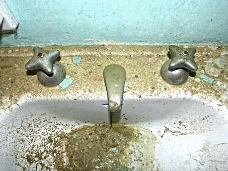 Tap, Sink, Old, Abandoned, Toilet