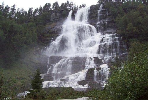 Waterfall, Tvinnefossen, Trollafossen, Voss, Norway