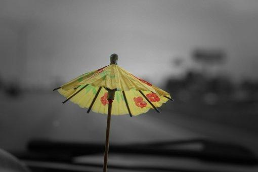 Umbrella, Toothpick, Tropical, Oriental, Yellow