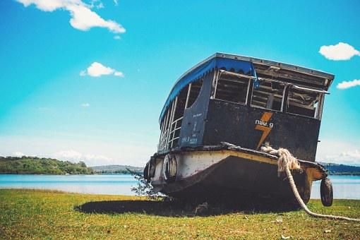 Boat, Stranded, Aground, Water, Lake, Blue, Sky, Ship