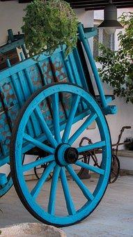 Cyprus, Paralimni, Wagon, Wheel, Blue, Traditional