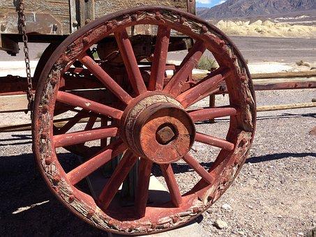 Wagon, Wheel, Death, Valley, Rustic, Western, Cartwheel