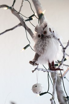 Christmas Tree, Owl, White, Christmas, Christmas Bauble
