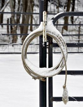 Lariat Rope, Snow Covered, Round Pen, Winter, Alone
