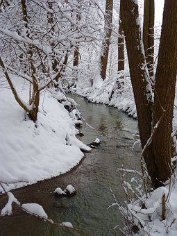 Bach, Water, Waters, Wintry, Winter, Cold, Snow, White