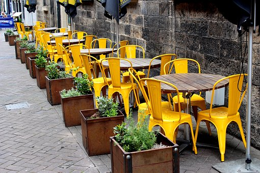 Pub, Restaurant, Yellow, Chairs, Tables, Bar, Alcohol