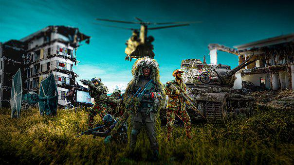 War, Army, Fight, Soldiers, Helicopter, Weapons, Attack