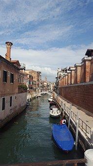 Gondolas, Boat, Canal, Venice, Waterway, Europe, Italy