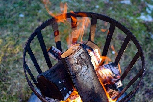 Fire, Fire Basket, Bonfire, Heat, Flames, Firewood
