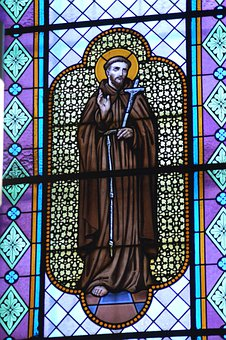 Stained Glass, Saint, Man, Brother, François D 'assis