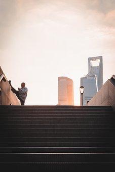 Stretching, Man, City, Stairs, Steps, Old Man, Senior