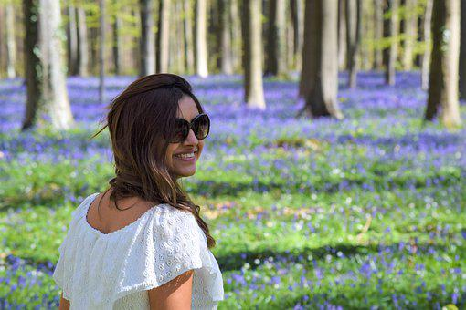 Woman, Forest, Flowers, Nature, Model, Spring, Shades