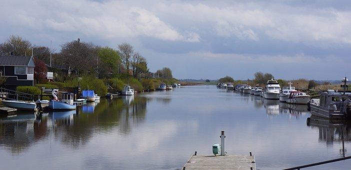 Yachts, Cabins, River, Chamber Locks, Denmark