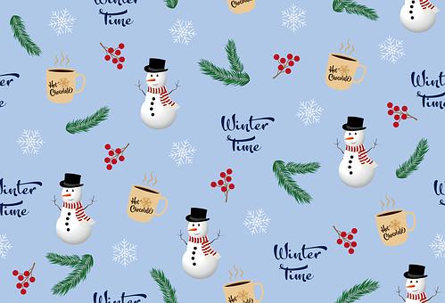 Pattern, Winter, Snowflakes, Background, Snowman