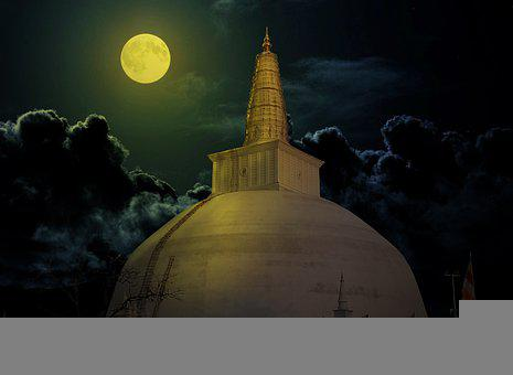 Ruwanweli Seya, Pagoda, Stupa, Moon, Temple, Buddhism