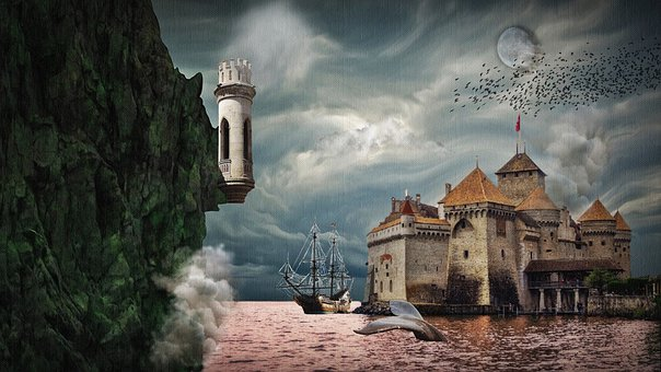 Castle, Fantasy, Water, Middle Ages, Sky, Magic