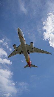 Aircraft, Blue Sky, White Clouds, Sky, Flight, Airplane