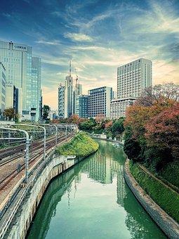 Autumn, Blue Sky, Buildings, Canal, Chiyoda City