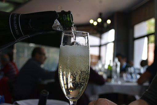 Champagne, Glass, Pouring, Bottle, Restaurant, Wine