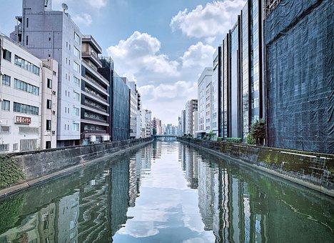 Blue Sky, Canal, Chiyoda, Grey Buildings, Japan