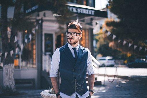 Man, Suit, Glasses