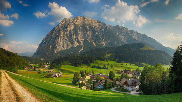 Mountains, Town, Village, Houses, Trees, Forests