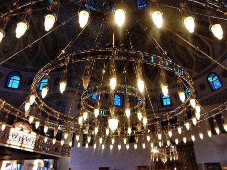 Chandelier, Lighting, Interior, Mosque, Dome, Islam