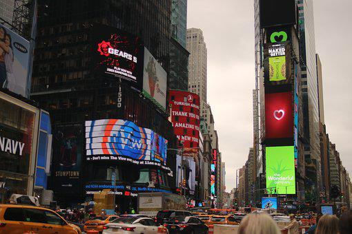 New York, Times Square, Buildings, Advertising