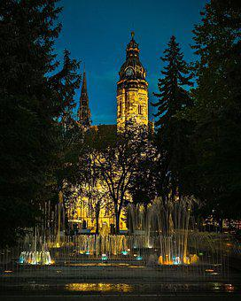Cathedral, Night, Architecture, Illuminated