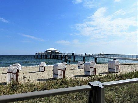 Beach, Cabins, Pier, Coast, Sand, Seashore, Ocean, Sea