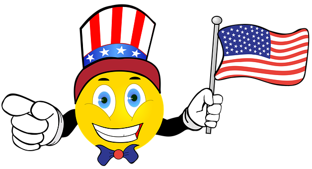 Smiley, Happy, American Flag, Uncle Sam, Hat