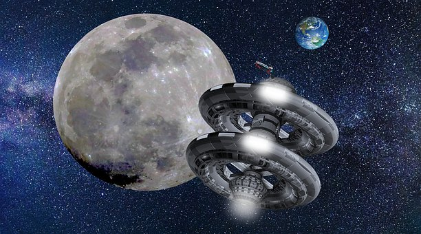 Moon, Space Station, Earth, Science Fiction, Galaxy
