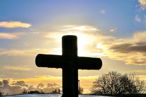 Cross, Sunset, Sun, Cloud Formation, Sky, Nature, Light