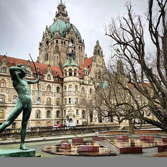New Town Hall, Building, Architecture, Hanover, Statue
