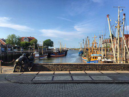 Port, Boats, Town, Statue, Sculpture, Fishing Boats