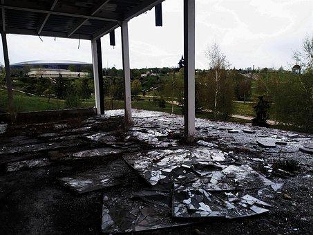 Broken Windows, Broken Glass, Abandoned Place, War