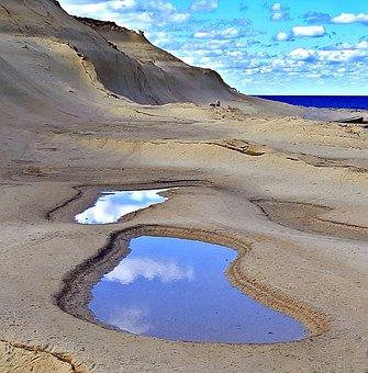 Beach, Coatings, Sky, Mirroring, Sea, Gozo, Malta, Blue