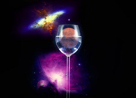 Glass, Wine, Mars, Alcohol, Isolated, Earth, Crystal