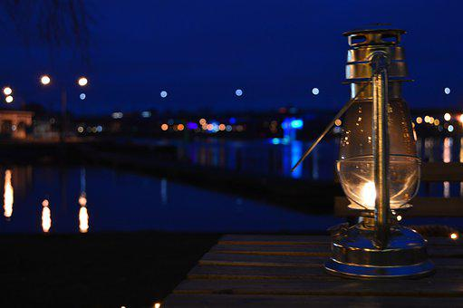 Lantern, River, Evening, Sky, City, Water, Bridge