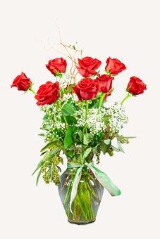 Flowers, Plant, Vase, Glass Vase, Red Roses, Bloom