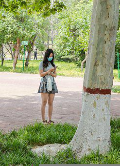 Park, Girl, Waiting, Face Mask, Mask, Pandemic