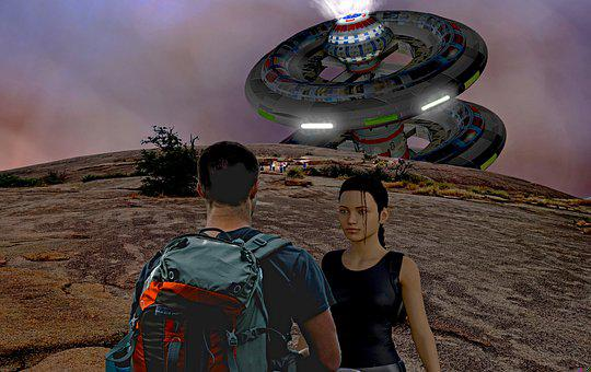 Ufo, People, Adventure, Science Fiction, Group, Meeting