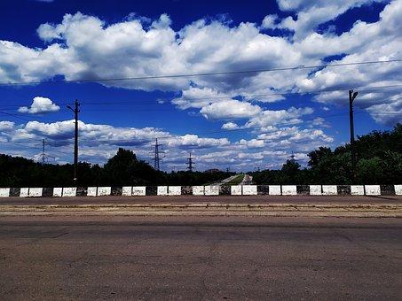 Bridge, Blue Sky, Volumetric Clouds, Road, Summer