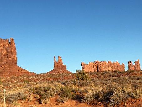 Monument Valley, Desert, Sandstone, Rock Formation