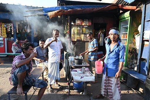 Tea Stall, Drink, Tea, People, Morning, Sky, Man
